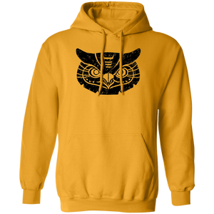 Black Distressed Emblem Hoodies for Adults (Great Horned Owl/Luna)