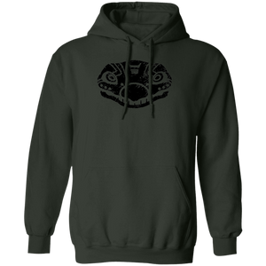 Black Distressed Emblem Hoodies for Adults (Stegosaurus/Bones)