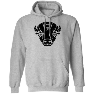 Black Distressed Emblem Hoodies for Adults (Bison/Panzer)