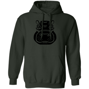 Black Distressed Emblem Hoodies for Adults (Hippo/Teal)