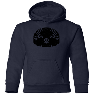 Black Distressed Emblem Hoodies for Kids (Snow Owl/Valor)