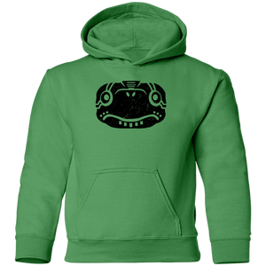 Black Distressed Emblem Hoodies for Kids (Turtle/Pearl)