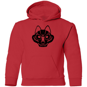 Black Distressed Emblem Hoodies for Kids (Wolf/Wolf Squad)