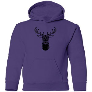 Black Distressed Emblem Hoodies for Kids (Deer/Stag)