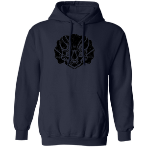 Black Distressed Emblem Hoodies for Adults (Triceratops/Trips)