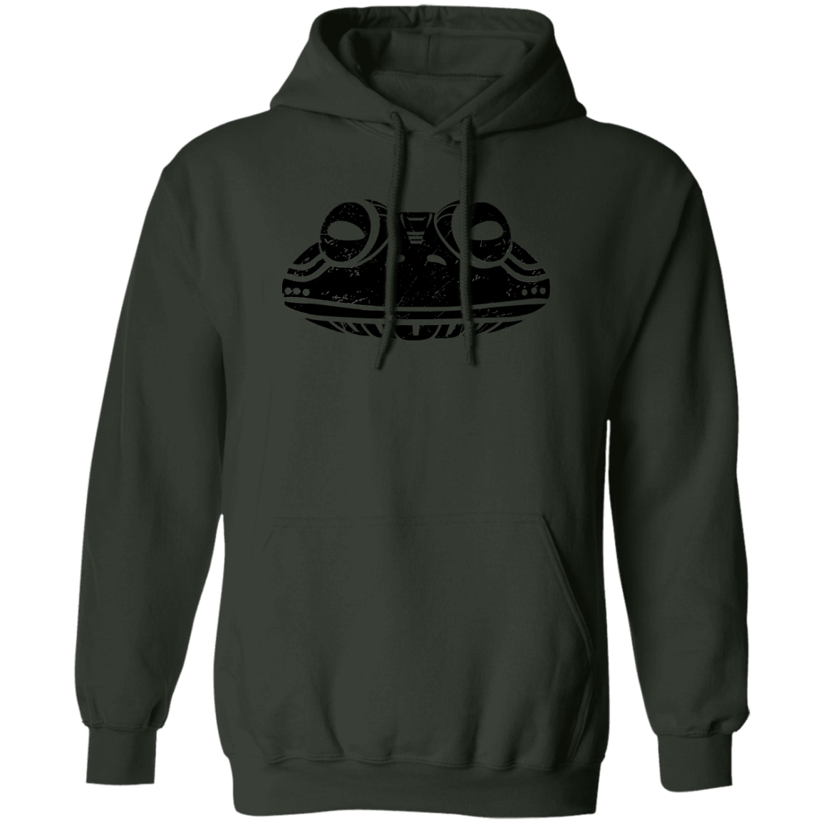 Black Distressed Emblem Hoodies for Adults (Frog/Hopalong)
