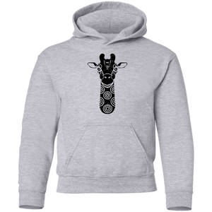 Black Distressed Emblem Hoodies for Kids (Giraffe/Archie)