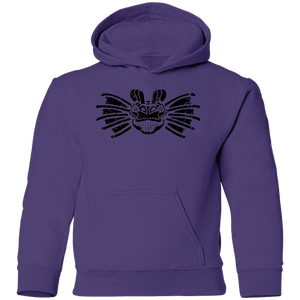 Black Distressed Emblem Hoodies for Kids (Dilophosaurus/Frill)