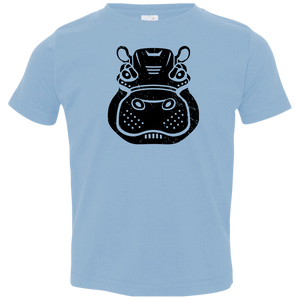 Black Distressed Emblem T-Shirt for Toddlers (Hippo/Teal)