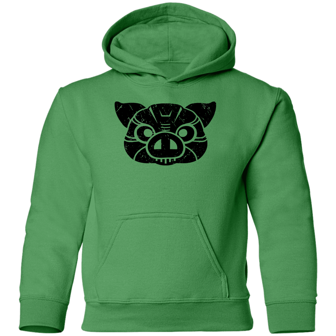 Black Distressed Emblem Hoodies for Kids (Pig/Hoss)