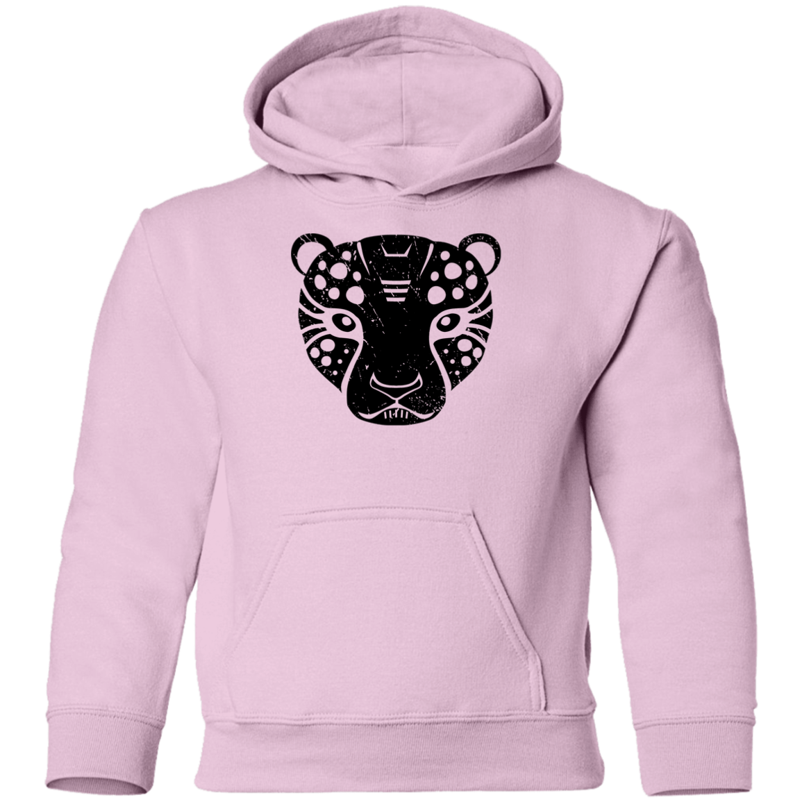 Black Distressed Emblem Hoodies for Kids (Cheetah/Poise)