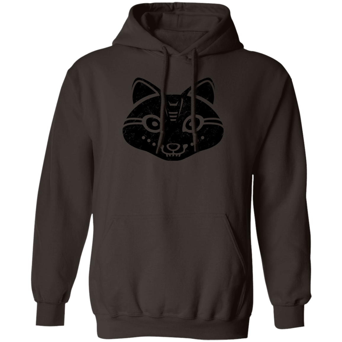 Black Distressed Emblem Hoodies for Adults (Snow Fox/Snowp)