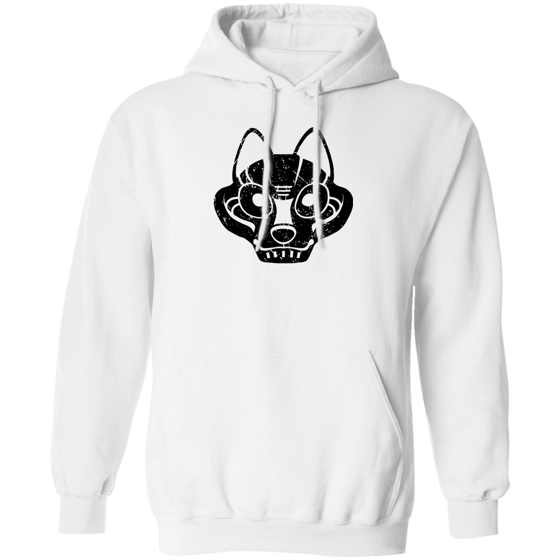 Black Distressed Emblem Hoodies for Adults (Wolf/Wolf Squad)
