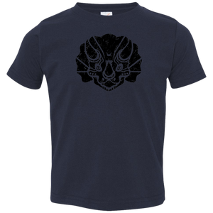 Black Distressed Emblem T-Shirt for Toddlers (Triceratops/Trips)