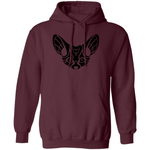 Black Distressed Emblem Hoodies for Adults (Fennec Fox/Fen)
