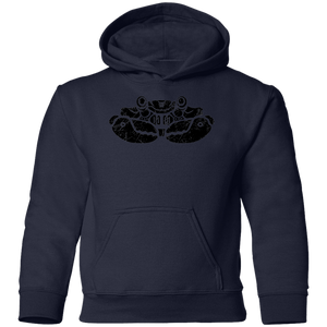 Black Distressed Emblem Hoodies for Kids (Crab/Clamps)