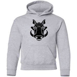 Black Distressed Emblem Hoodies for Kids (Warthog/Bumper)
