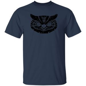 Black Distressed Emblem T-Shirt for Kids (Great Horned Owl/Luna)