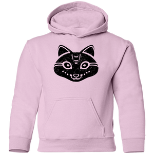 Black Distressed Emblem Hoodies for Kids (Snow Fox/Snowp)