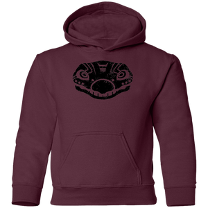 Black Distressed Emblem Hoodies for Kids (Stegosaurus/Bones)