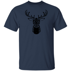 Black Distressed Emblem T-Shirt for Kids (Deer/Stag)