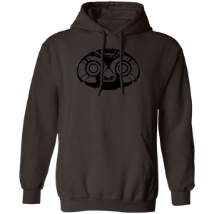 Black Distressed Emblem Hoodies for Adults (Elf Owl/Peeps)