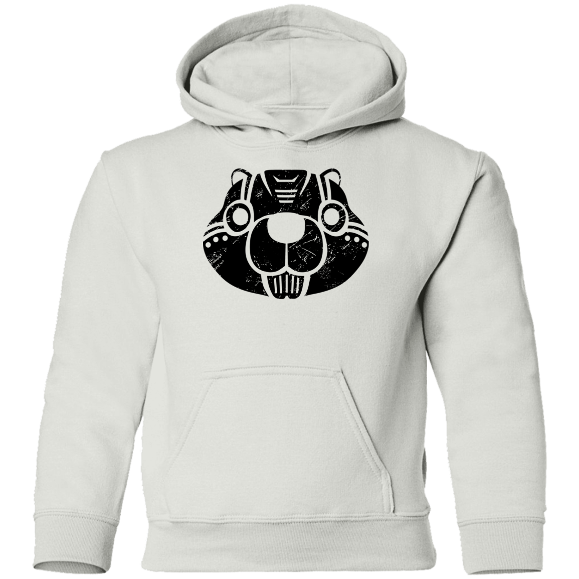 Black Distressed Emblem Hoodies for Kids (Beaver/Buzzcut)