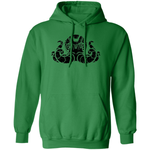 Black Distressed Emblem Hoodies for Adults (Octopus/Matey)