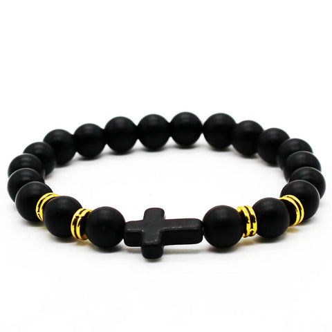 Black Matte Stone and Cross Bracelet