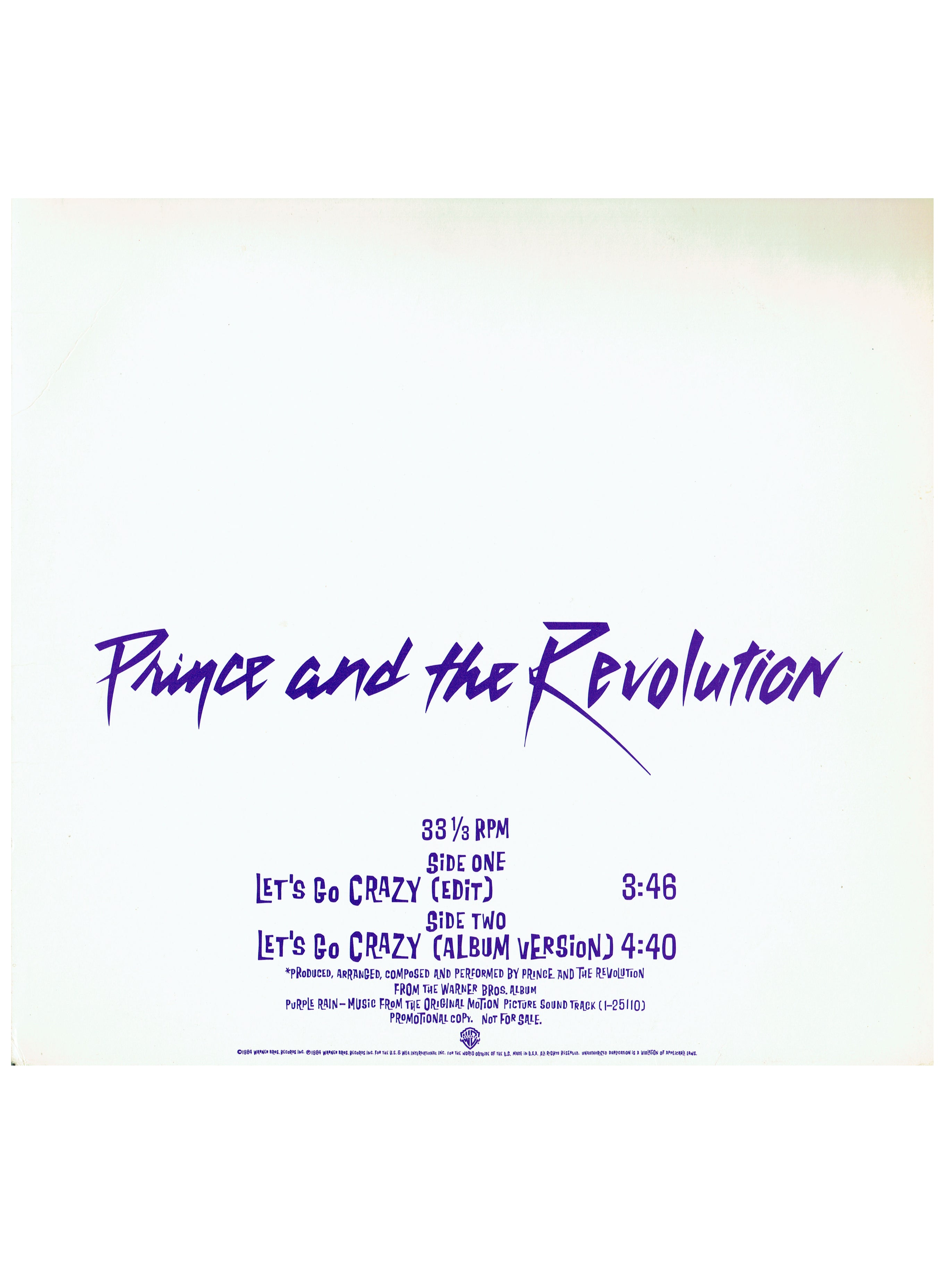 Prince & The Revolution Let's Go Crazy USA Promo 12inch Vinyl