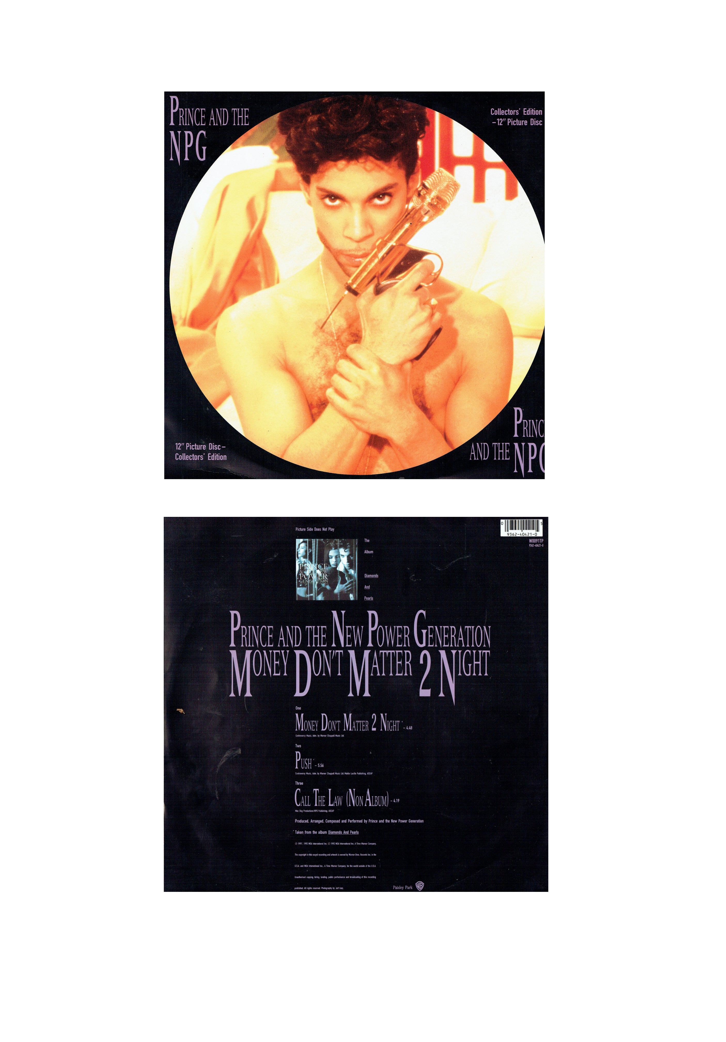 Prince & The NPG Money Don't Matter Picture Disc 12 Inch VINYL 1992 Original MINT SMS