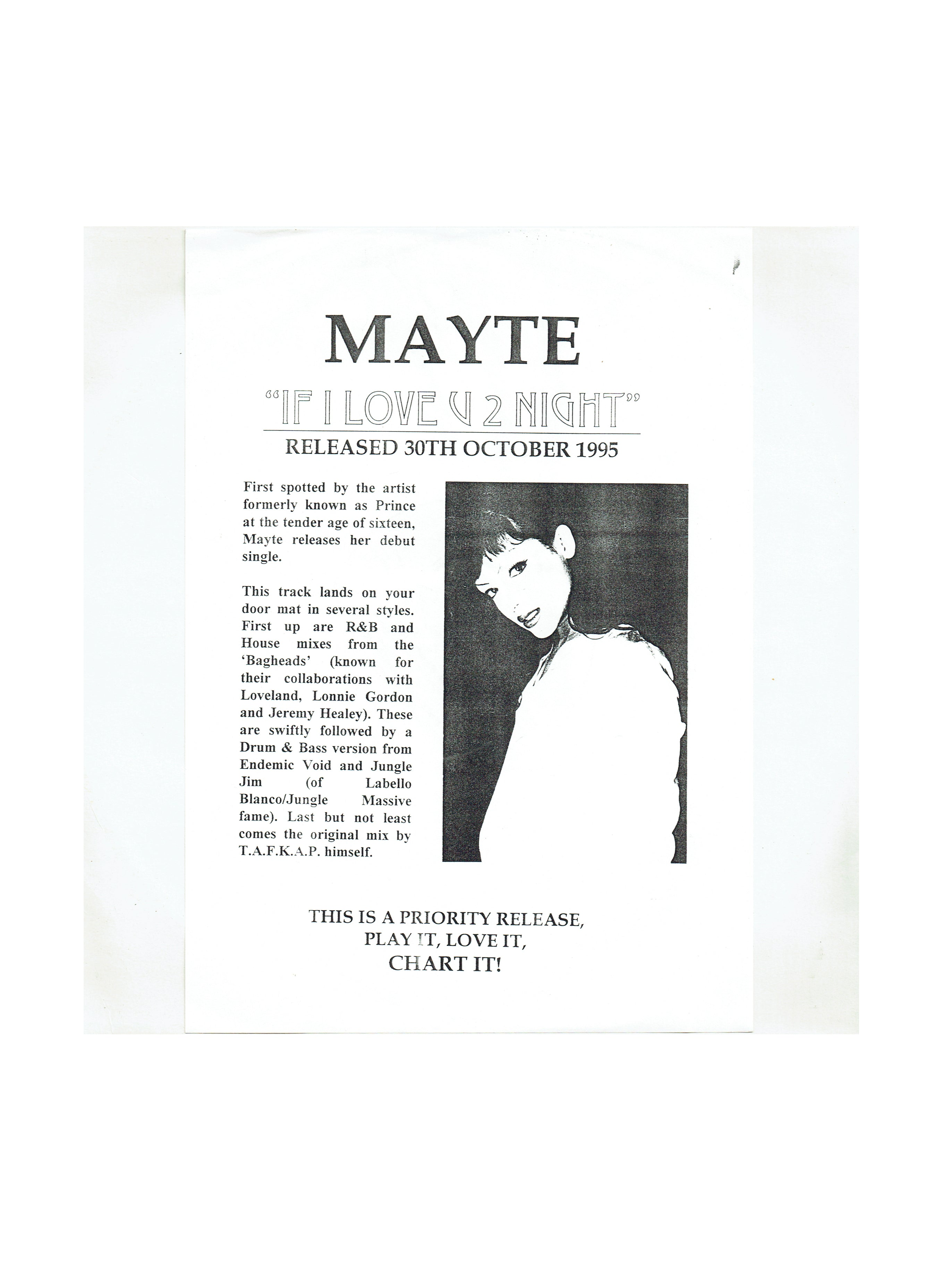 Mayte If I Love U 2 Nite Promotional 12 Inch Vinyl Single 1995 Release Prince DJ Only
