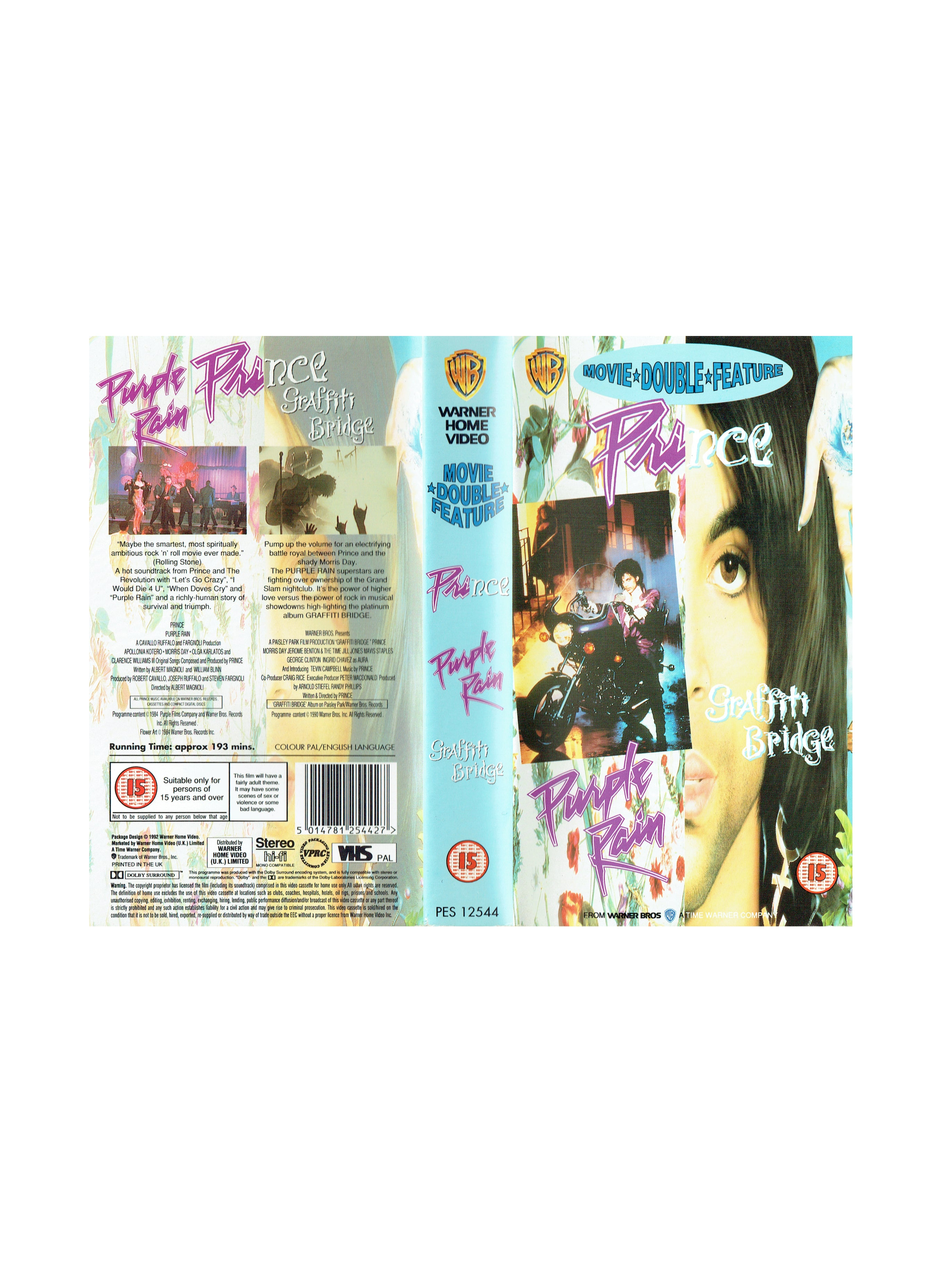 Prince Double Feature Purple Rain / Graffiti Bridge VHS Video Cassette IB