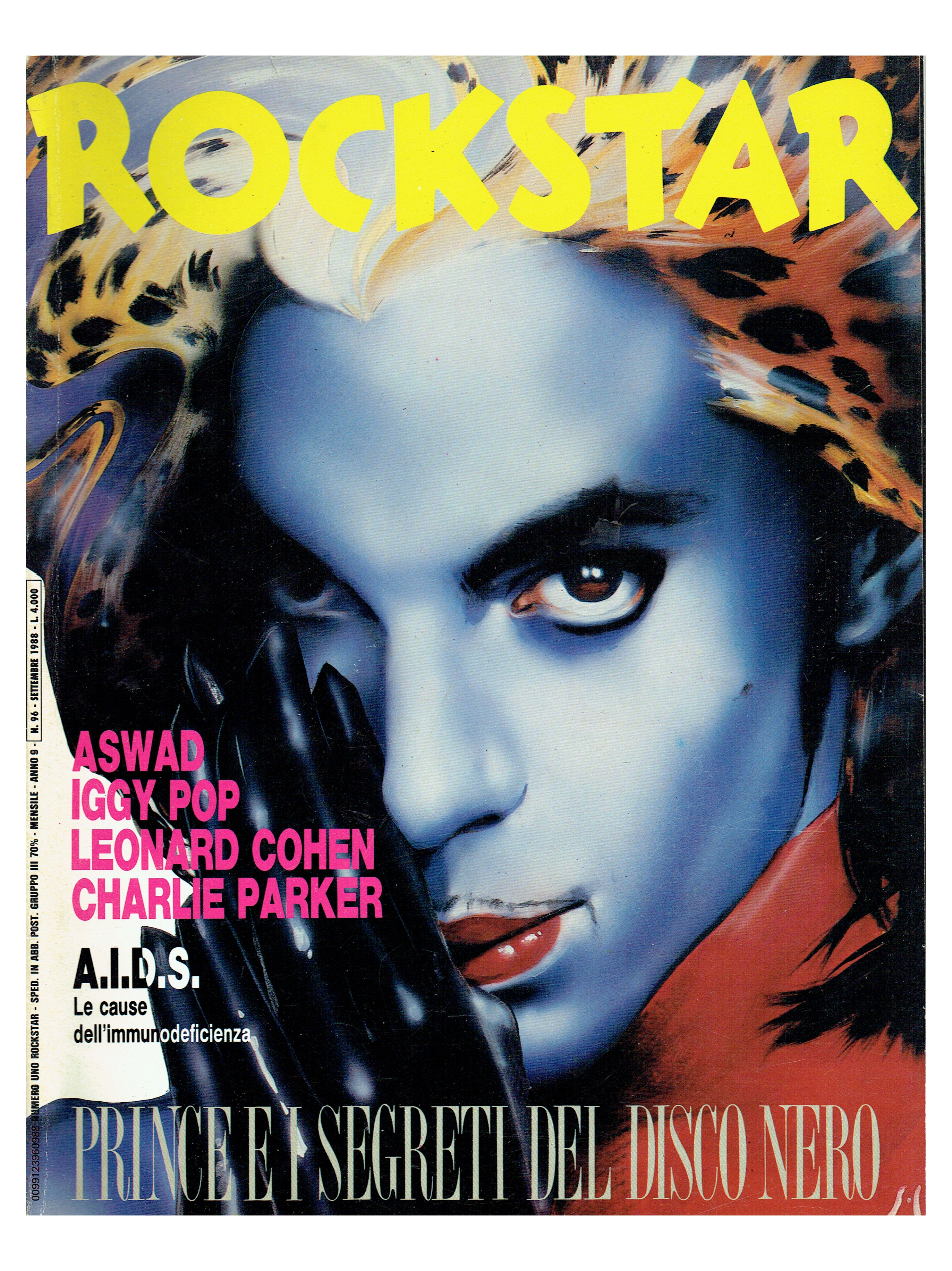 Prince ROCKSTAR September 1988 Italian Magazine Cover And 6 Page Article EX