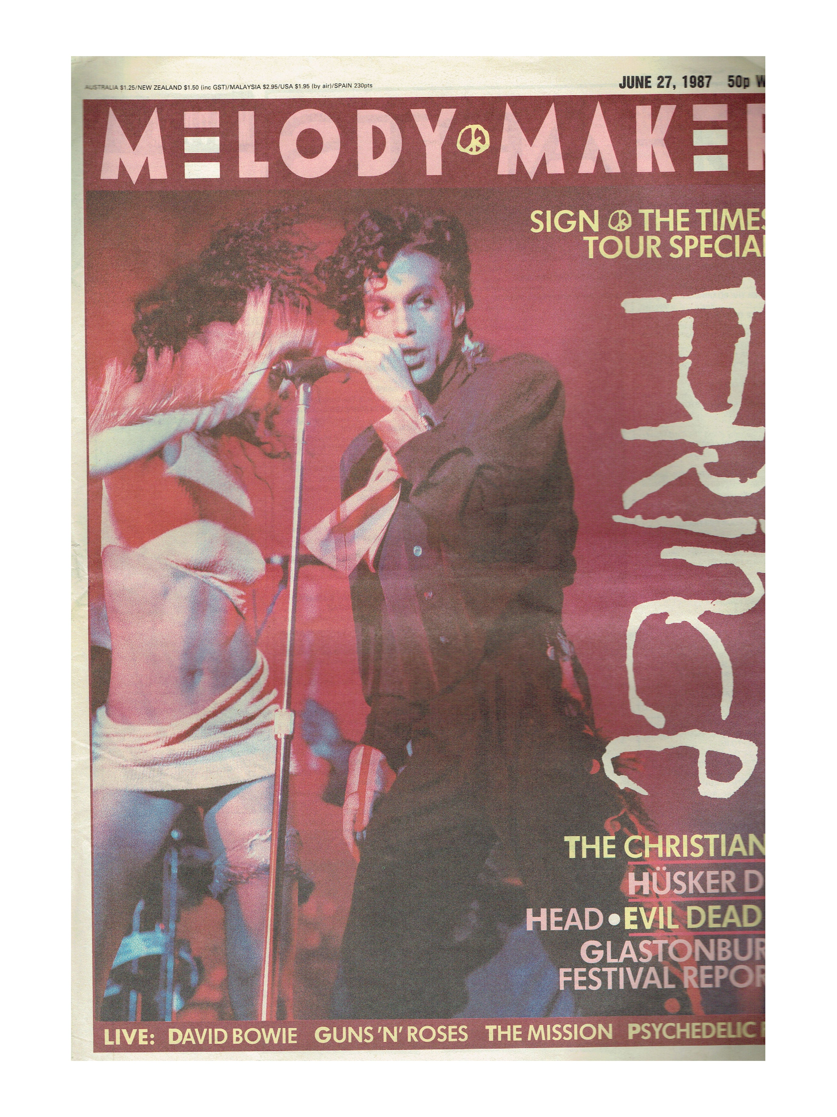 Prince Cover Melody Maker Newspaper June 27th 1987 Sign O The Times