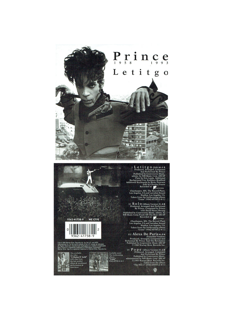 Prince Letitgo CD Single 1994 Original US 4 Tracks Card Sleeve