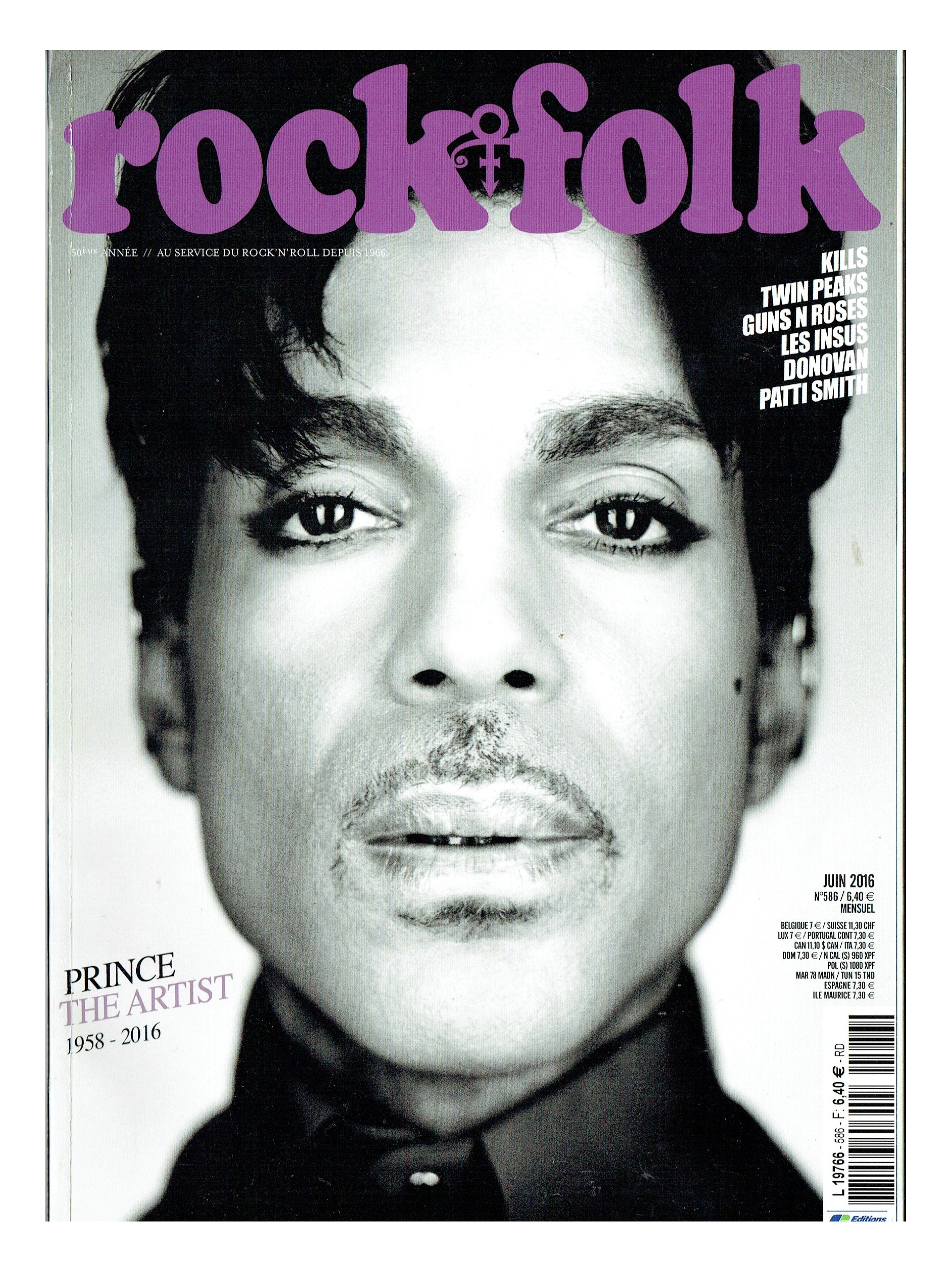 Prince Rock & Folk French Magazine Front Cover & 16 Page Article June 2016