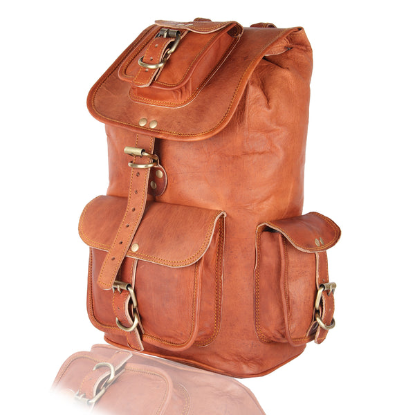 "16"" Genuine Leather Retro Rucksack"