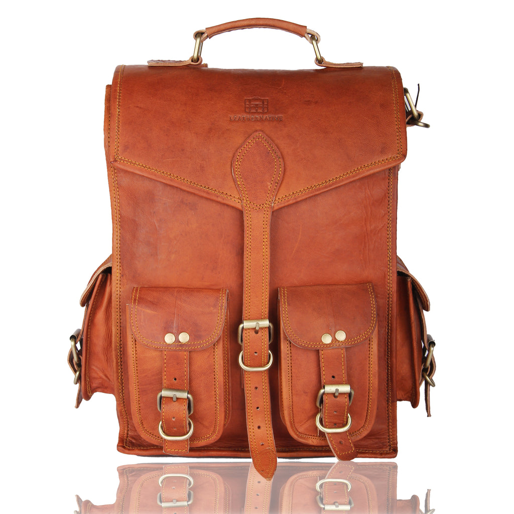 "Leather Messenger Bag Briefcase Satchel - 2-in-1 Rucksack and Courier Bag, Fits 15-inch MacBook Crossbody or On Your Back - Handmade 15"" Laptop, iPad - Rich Patina Improves with Age - Men or Women"