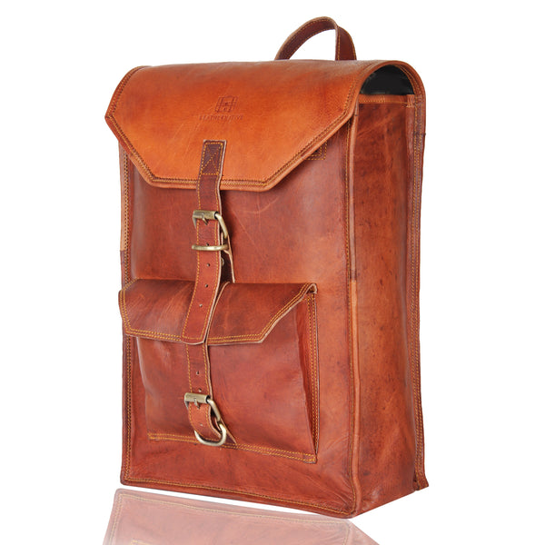 "Leather Native 15"" Brown Vintage Leather Backpack"