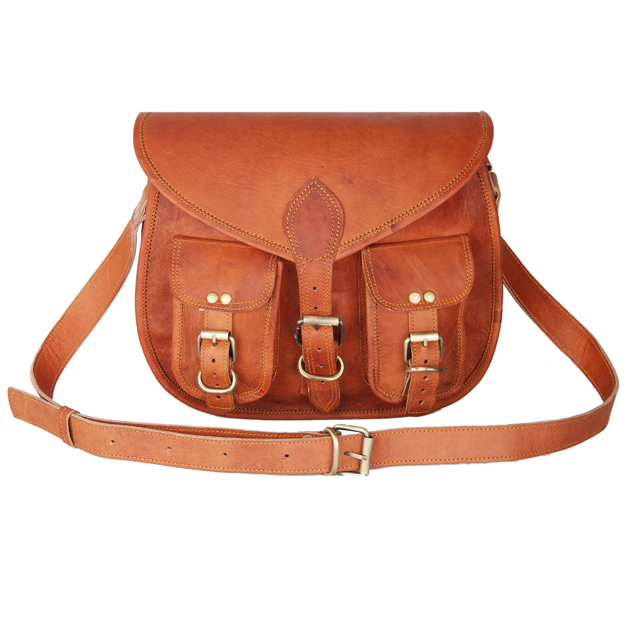 Women's Handmade Leather Boho-Gypsy Purse - Smart Green Canvas Lining and Reinforced Hand-Stitching - 3 Compartments, Plus 1 Zippered Pocket - Crossbody Purse for Business and Pleasure - 13 Inches