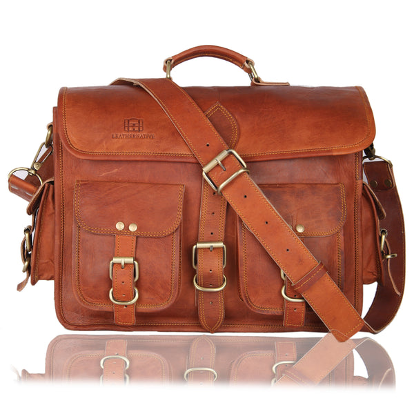 NEW Men's Genuine Vintage Brown Leather Messenger Shoulder Laptop Bag