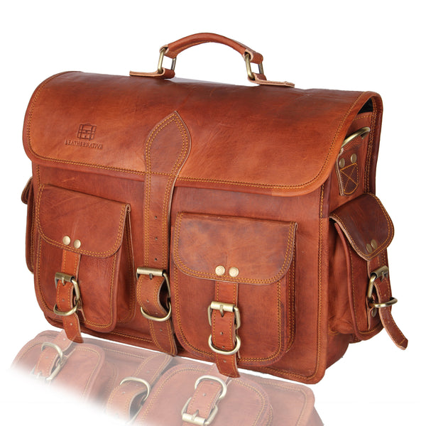 Men's Genuine Vintage Brown Leather Laptop Bag