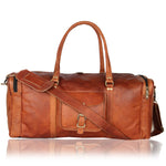Leather Overnight Duffle Bag Handmade - 3 Large Compartments for Laptops and Folders - Handsome Patina Deepens as Ages - Waterproof, Ideal for Business, Travel, Gym - Suits Men or Women