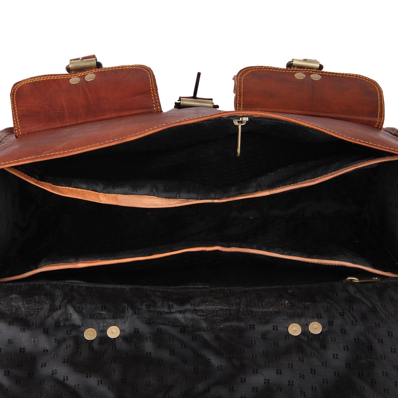 Leather Native 2 Side Pouch Brown Leather Motorcycle Side Pouch