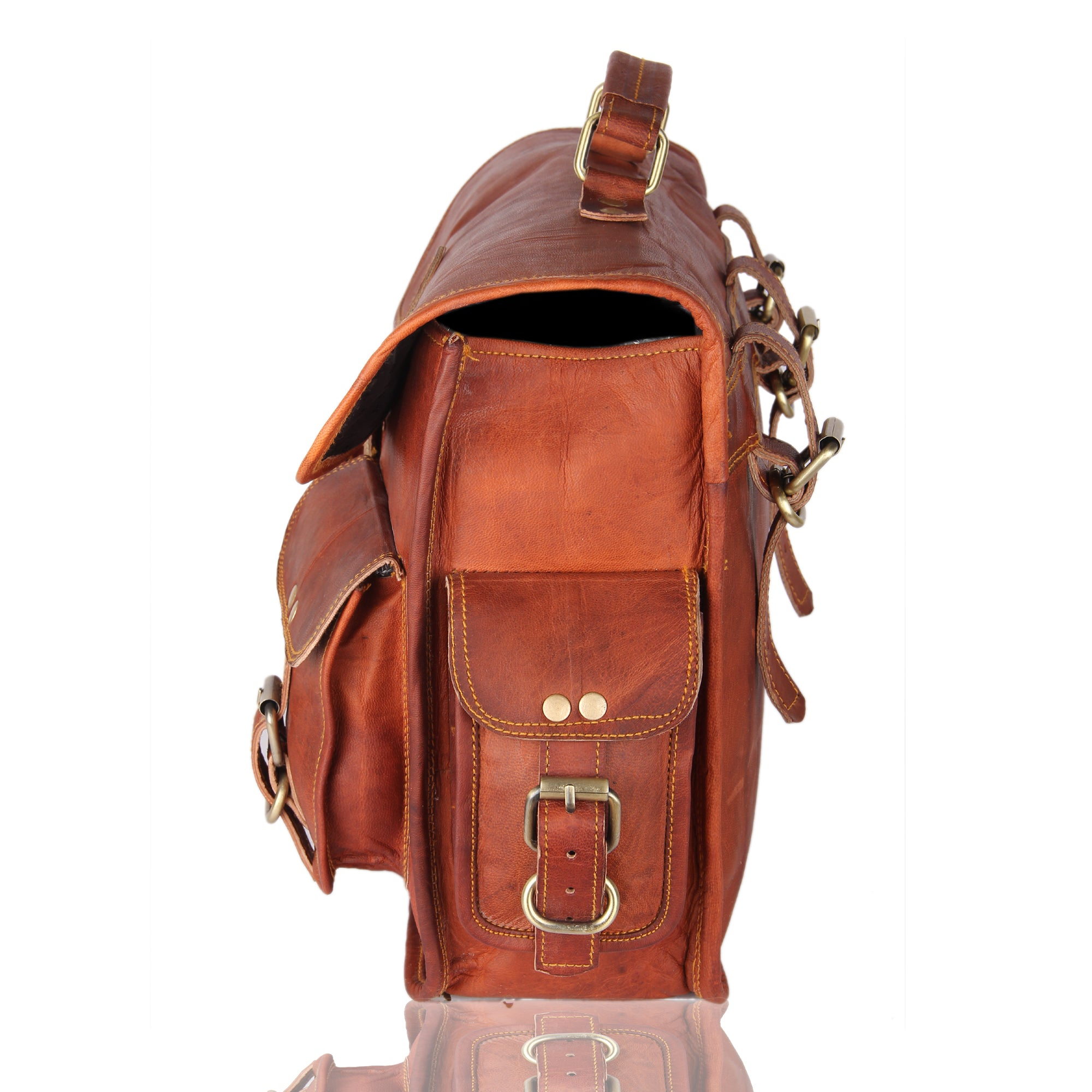 Leather Native 2 Side Pouch Brown Leather Motorcycle Side Pouch Saddlebags Saddle Bag Panniers (2 BAGS)