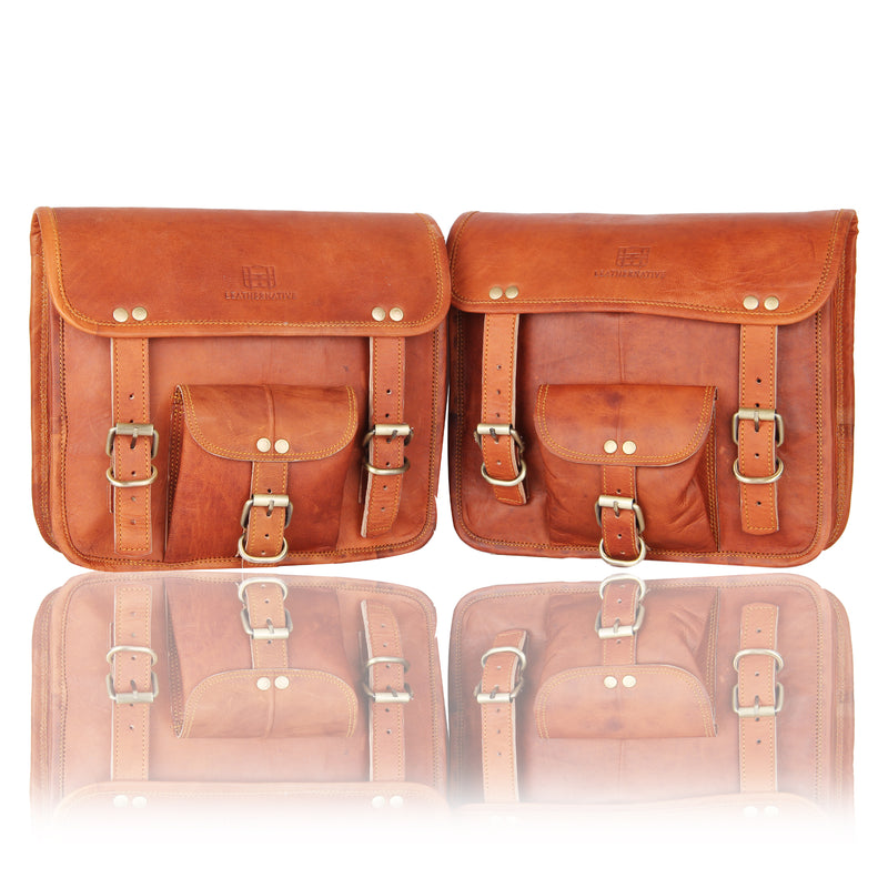 1 Pair of Brown Genuine Leather Saddle Panniers