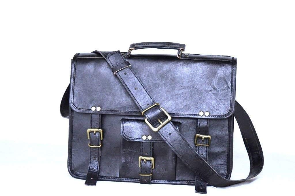 "15"" Black New Leather Messenger Bag"