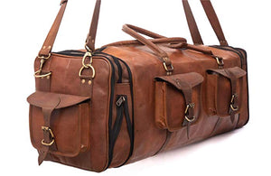 Large Leather Overnight Duffle Bag - Handmade 30 inch, 1 x Padded Laptop Compartment and 3 More, 4 x Pockets - Handsome Patina Deepens as Ages - Waterproof, Ideal Business, Travel, Gym - Men or Women