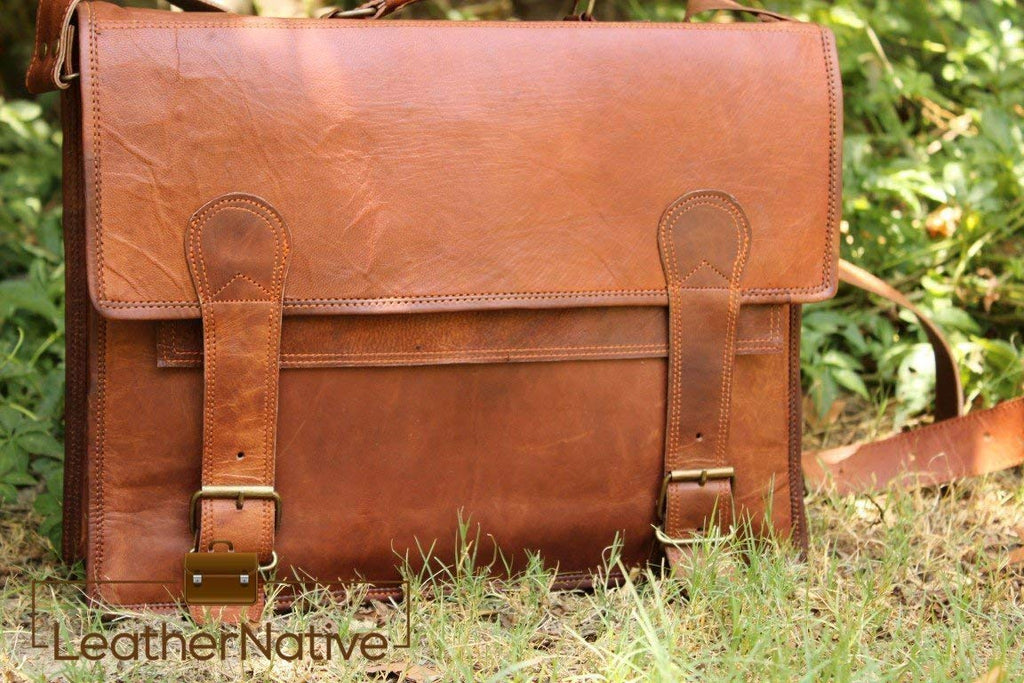 "15"" Brown Leather Satchel Bag"